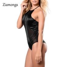 Ziamonga Lace Women Elastic Slim Sleeveless Hollow Out Jumpsuit Sexy lace Bodysuits O-Neck Black/Khaki Bodycon Combinaison Femme