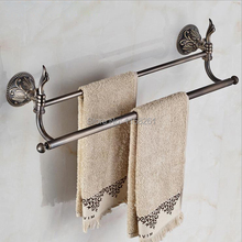 Free Shipping Bathroom Accessories Products Solid Brass Zinc Titanium Antique Double Towel Bar Towel Holder Rack