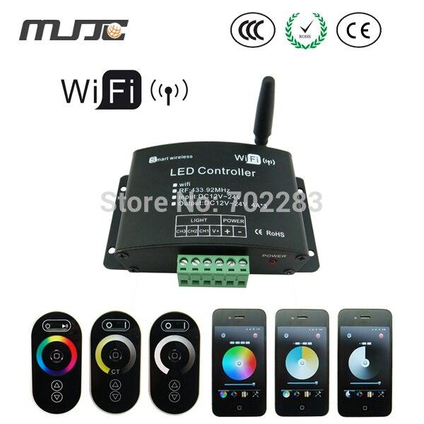 цена на WIFI LED RGB Remote Controller 12V 24V RF LED Dimmer 2.4G RGB Controller