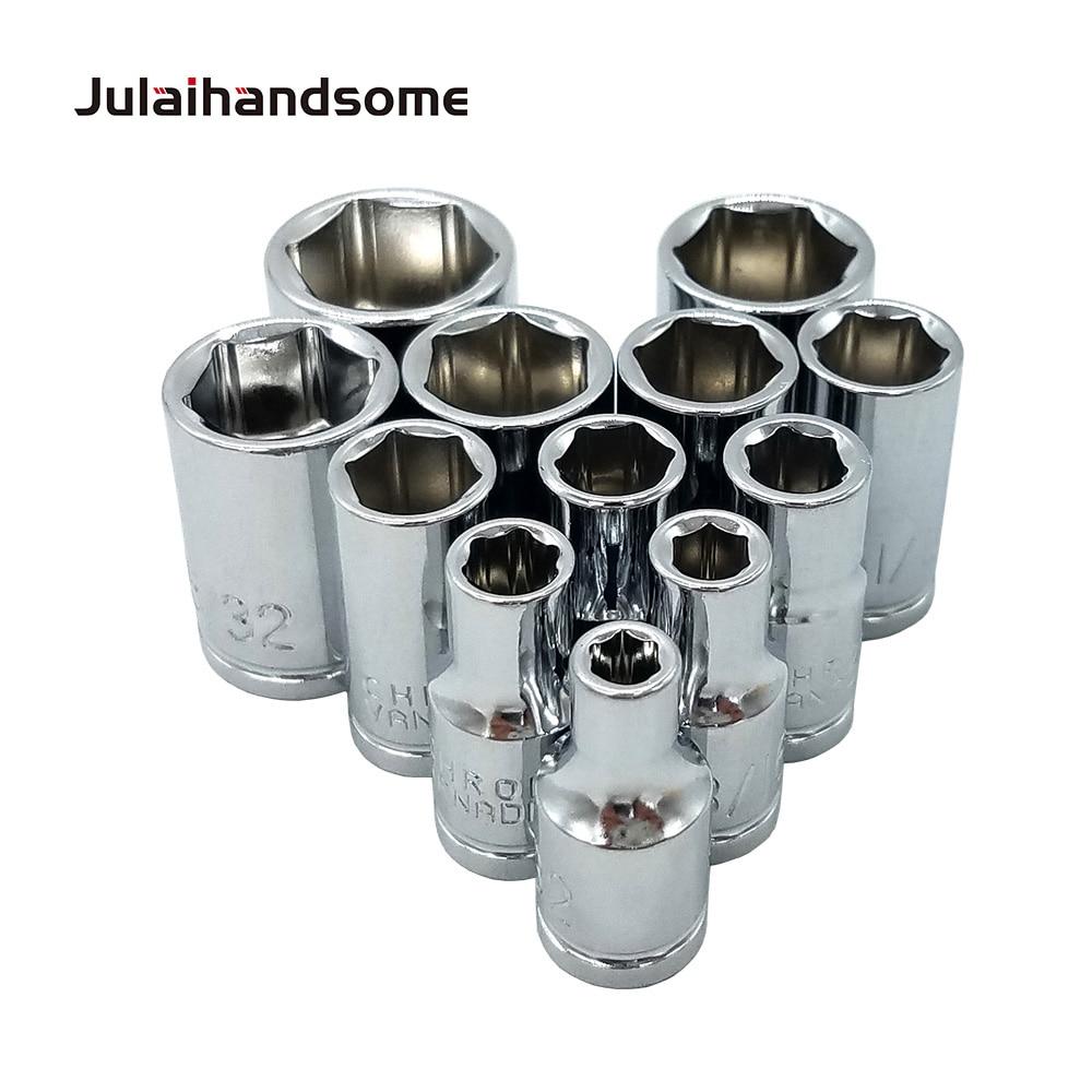 שליכט אקרילי Julaihandsome 12PC 1/4 אינץ SAE Sockets Set 5/32 3/16 7/32 1/4 9/32 5/16 11/32 3/8 7/16 15/32 1/2 9/16 סט כלי CRV 25mm יד (3)