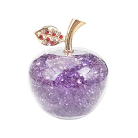 Lilac 80mm Creative Crystal Apple Paperweight with Diamonds Natural Stone for Home Decoration Accessories