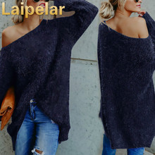 Women Long Sleeve Sexy Off Shoulder Sweater Faux Fur Blouse Top Dress Autumn and Winter Basic Pullover Sweaters for girls