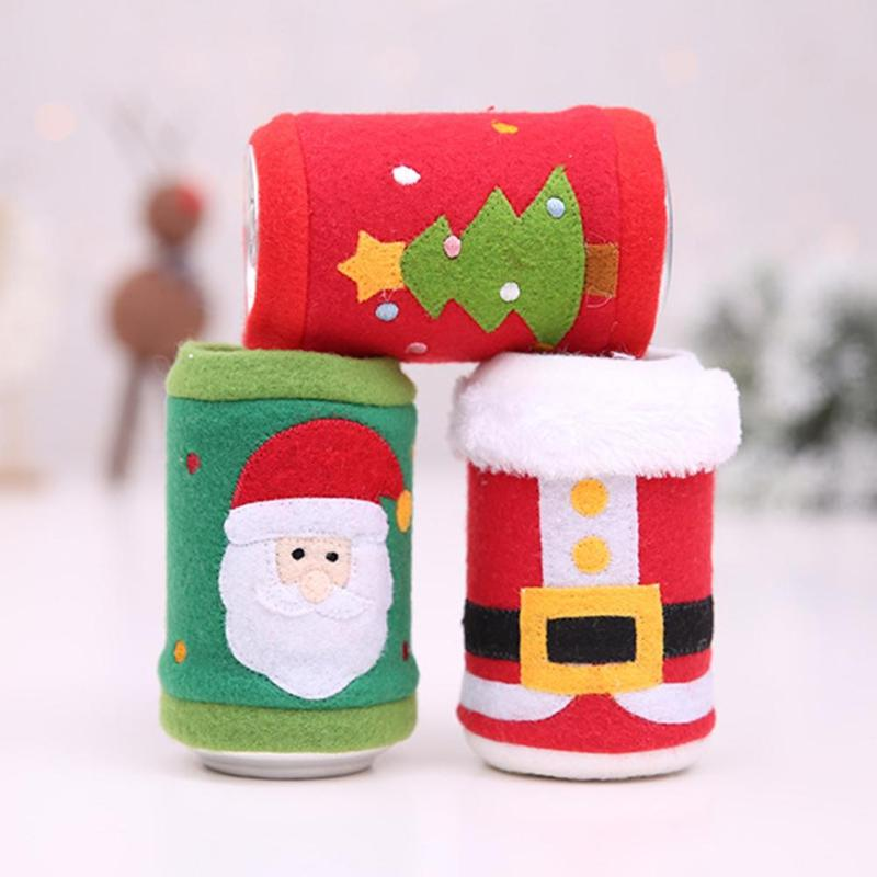 Christmas Decoration for Home Cute Christmas Fleece Cloth Red Wine Can Bottle Cover Bags Xmas Table Decor in Stockings Gift Holders from Home Garden