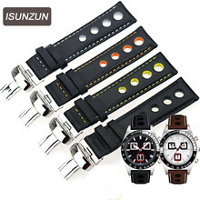 ISUNZUN Men's Watch Strap For Tissot 1853 T044 PRS516 T91 T021 20mm Special Black Leather Watch Band Free Shipping
