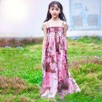 2018 Chaude Rose Floral Robe Longue Robe pour les Filles Enfants D'été Plage bohême Conception Mignon Vêtements Age56789 10 11 12 13 14 Ans