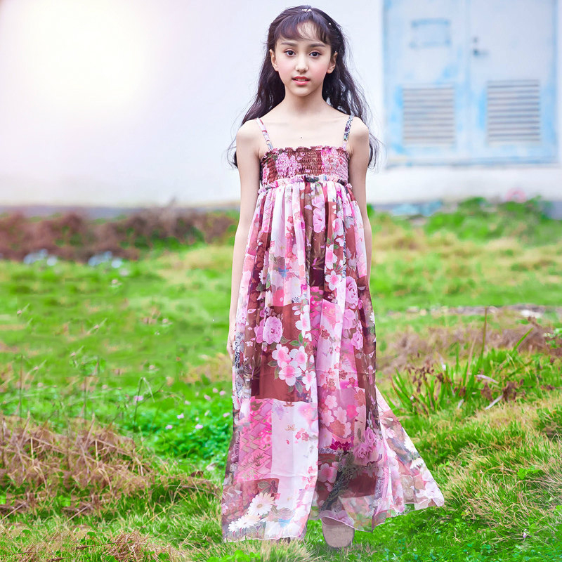 2018 Hot Pink Floral Dress Long Gown for Girls Kids Summer Beach Bohemia Design Cute Clothes Age56789 10 11 12 13 14 Years Old girls dresses fruit design pineapple orange dress summer kids clothes flower print for kids age 5678910 11 12 13 14 years old