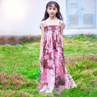 2018 Hot Pink Floral Dress Long Gown for Girls Kids Summer Beach Bohemia Design Cute Clothes Age56789 10 11 12 13 14 Years Old