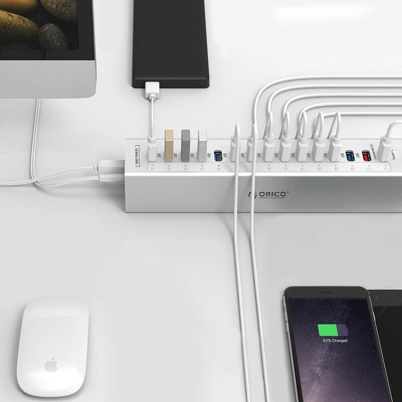 ORICO A3H13P2 SV aluminium 13 Ports Multi USB3.0 répartiteur de moyeu avec 2 Ports de charge 5V2. 4A Super chargeur/5V1A universel argent - 6