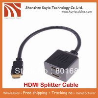 Free Shipping 2pcs Lot HDMI Male To 2x HDMI Female Splitter Y Cable HDMI Splitter Cable