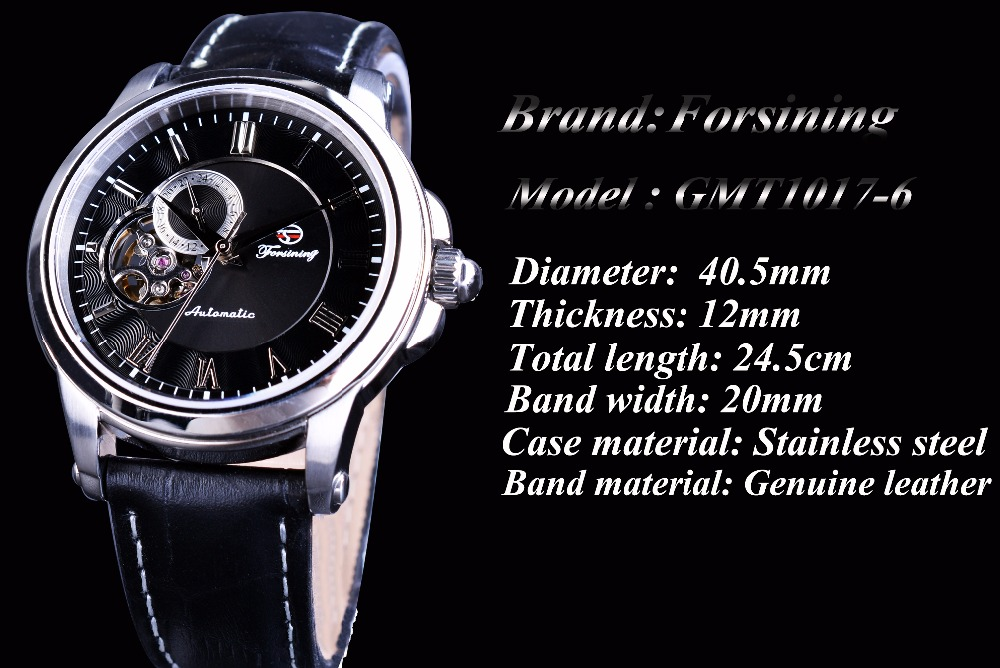 Forsining Kişi Saatı Skeleti Moda Dizaynı Təsadüfi Top Marka - Kişi saatları - Fotoqrafiya 3