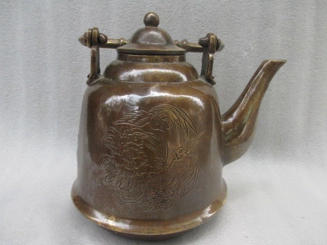 6.3 inch /Chinese manual sculpture l collect old copper flower phoenix teapot6.3 inch /Chinese manual sculpture l collect old copper flower phoenix teapot