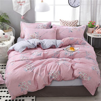 Comfortable Pink Lotus Printing Brief Family Bedding Set Bedding Sets
