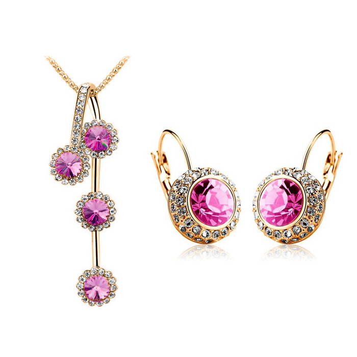 Vintage Moon Arrival Crystal design Round Moon river Crystal Jewelry Sets NECKLACE EARRINGS SET