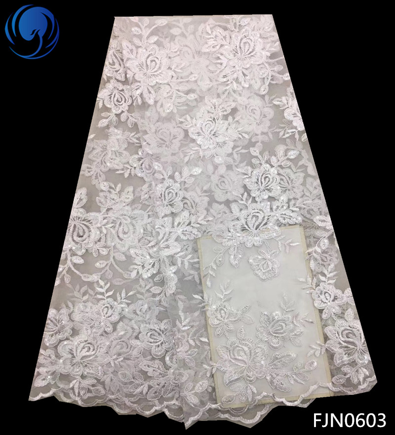 Beautifical Lace Fabric 2018 African French Lace Fabrics With Sequins Nigerian Embroidery Tulle French Lace 5yards/lot FJN06Beautifical Lace Fabric 2018 African French Lace Fabrics With Sequins Nigerian Embroidery Tulle French Lace 5yards/lot FJN06