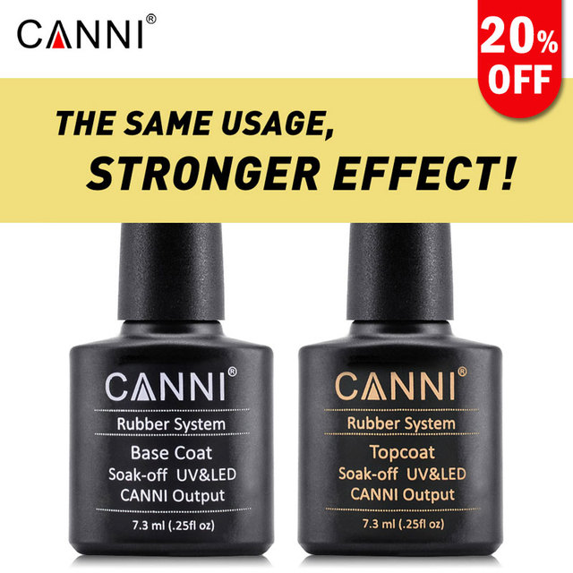 CANNI Brand Full Nail Art UV led fast dry Varnish Rubber base coat long lasting no wipe bright shiny Topcoat uv gel nail polish
