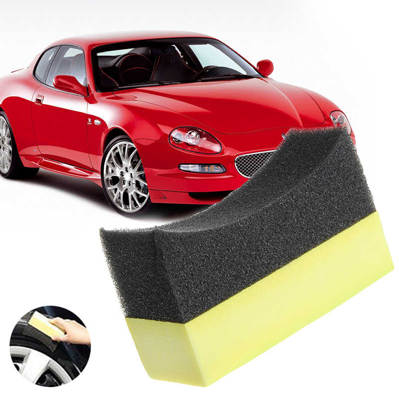 Hot New 1 Pc Auto Car Professional Tyre Tire Dressing Applicator Curved  Foam Sponge Pad Cleaning Aceessories