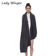 Lady Blinger women fashion striped deep grey cashmere shawl super soft ripple wraps pashmina for female
