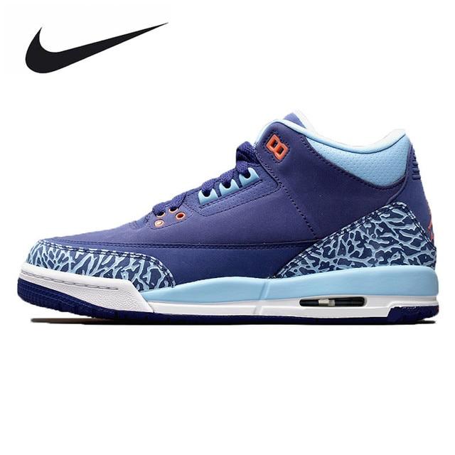 Nike Air Jordan 3 GS Blue Cap AJ3 Dark Purple Burst Crack Women Basketball  Shoes  3fcda9387