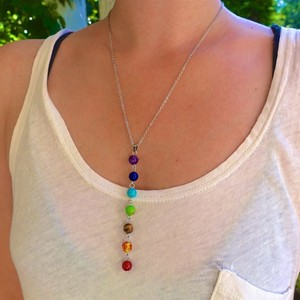 7 Chakra Stones Reiki Healing Point Chakra Pendant Charm Pendant Ankh Yoga Jewelry Semi Precious Stone Necklace(China)
