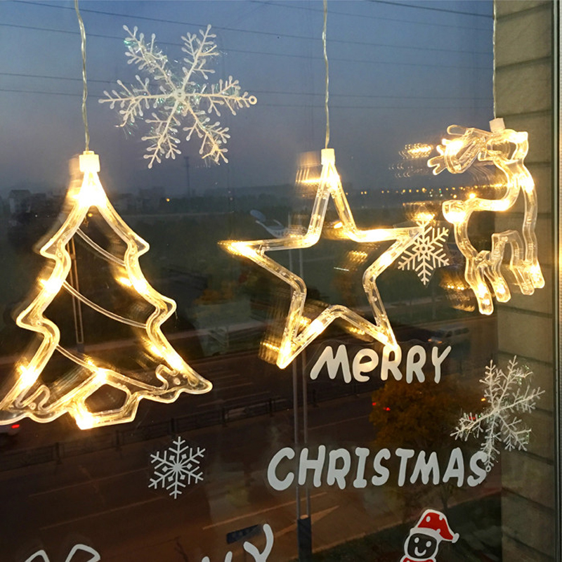 Us 12 99 Star Bells Christmas Tree Windows Hanging Light Festival Party Battery Operated Led Sucker Fairy Light Window Decorations Lamp In Led Night