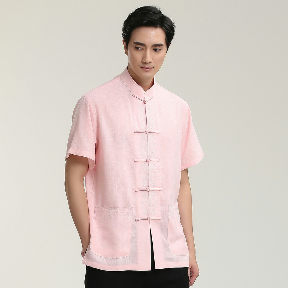 Pink Male Broadcloth Short Sleeve Button Shirt Chinese Men Classic Kung Fu Tai Chi Tops With Pocket M L XL XXL XXXL 2713