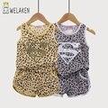 2017 de Moda de Verano Estilo de Leopardo Trajes de los Bebés Ropa Fijada Moda Tops + Shorts Comfort Ropa de Los Cabritos Sets