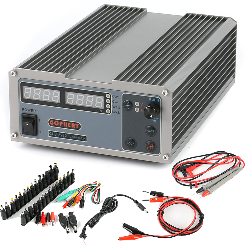 GOPHERT Compact MCU PFC Digital Adjustable Repair Laboratory Switch DC Power Supply OVP/OCP/OTP 32V 32A + AC DC Jack Set + Probe dc power supply uni trend utp3704 i ii iii lines 0 32v dc power supply