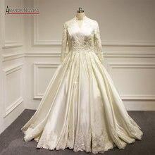 Amanda Novias Actual Photos Long Sleeve muslim Wedding Dress Plus Sizes