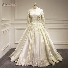 Amanda Novias rzeczywiste zdjęcia długim rękawem muzułmaninem suknia ślubna Plus rozmiary