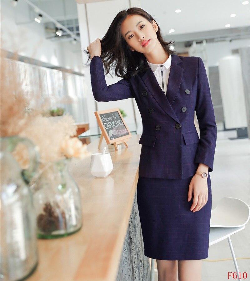 Travail Mode Costumes Avec Et Élégante 2019 Formelle Pourpre Vêtements Bleu De Ensembles marine Veste La Femmes Jupe Bureau Blazer D'affaires Dames gACTSWn