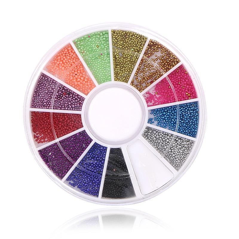 3 Box Mix Color Nail Wheel Beads Acrylic Nails 3D Decorations Studs Supplies Ongles Decoration Set Nailart Nail Charms Manicure
