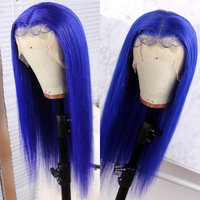 COLODO Blue Human Hair Wig With Baby Hair Straight 613 Lace Front Wig Preplucked Hairline 13x6 Brazilian Wigs For Black Women