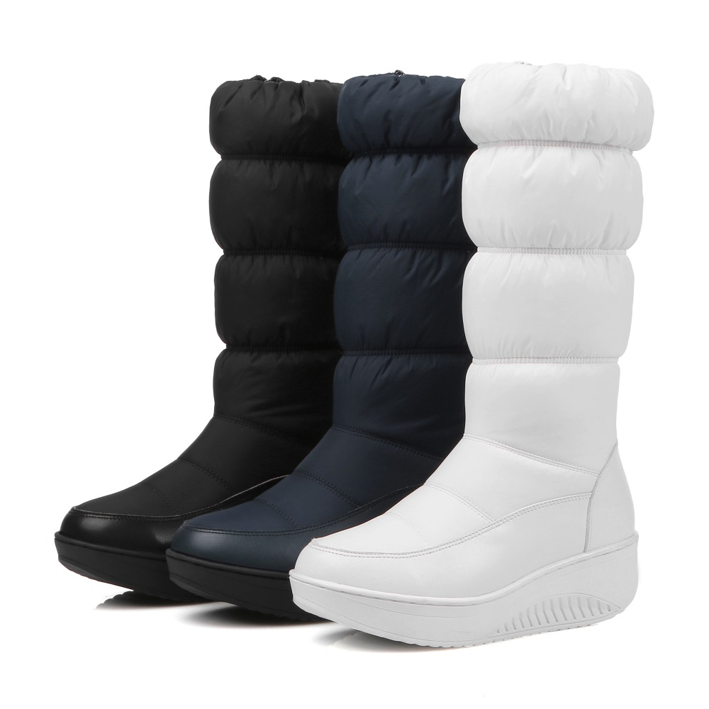 ФОТО Hot sales women boots High quality Down warm snow boots Slip-On Round Toe Wedges Platforms winter boots Mid-Calf fashion boots