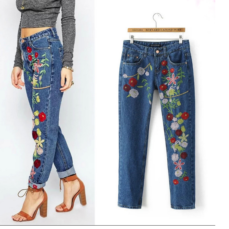 2017 Spring new embroidered jeans color embroidered national wind low waist jeans trousers 2017 spring new embroidered jeans color embroidered national wind low waist jeans trousers