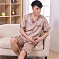2017 Spring Summer Men Silk Pajamas Suit Sleepshirt & Shorts Plus Size 3XL Adult Male Sleepwear Family Casual Home Clothing