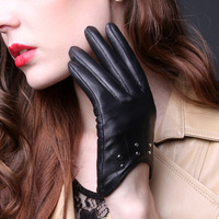 American Style Women's Fashion Thin Rivets 100% Sheepskin Genuine Leather Black Gloves Ladies Cute Riding Mittens Wholesale New