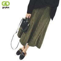 GOPLUS Apricot Una Línea de Falda 2017 Otoño Invierno Caliente de Punto faldas Estilo Coreano Verde Del Ejército Mujeres Negras Gruesas de Mitad de la pantorrilla de Largo falda