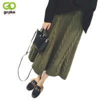 GOPLUS Warm Knitted Skirt 2017 Autumn Winter Apricot A Line Skirts Korean Style Army Green Black