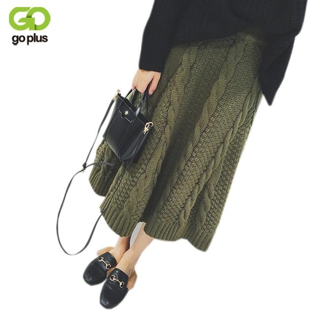 Goplus теплая вязаная юбка 2017 осень-зима абрикос линии Юбки для женщин корейский стиль Армейский зеленый черный Для женщин толщиной до середины икры длинная юбка