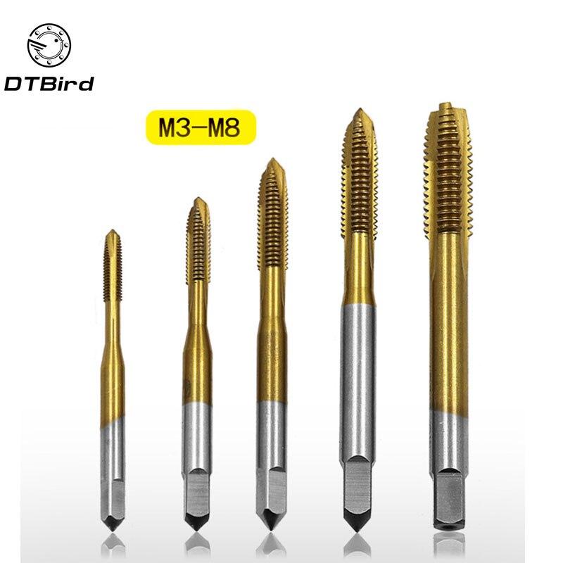 5pcs Titanium Electroplating HSS Machine Screw Tap M3 M4 M5 M6 M8 Spiral Pointed Taps DIY Tool