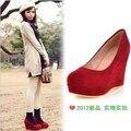 Novia de la boda cuñas de tacón alto de la mujer bombea solo zapato para mujer del resorte dulce causal tallas grandes de color rojo 44, 45, 46