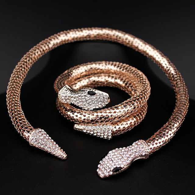 Gold Silver Plated Crystal Rhinestone Snake Statement Necklace