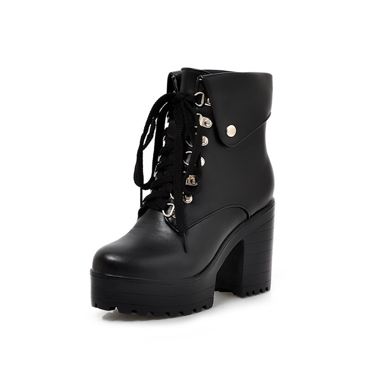 22344c86dab Block Heel Punk Goth Boots. Heel Height  3.9 inches ( 10.0 cm). Platform   1.6 inches ( 4.0 cm). Material   Synthetic. DSC 0125 DSC 0128 ...