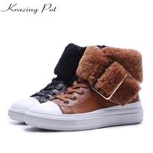Krazing pot/Последняя Мода из коровьей кожи на овечьем меху с металлической пряжкой средний каблук Теплые ковбойские ботинки с круглым носком держать теплые ботильоны L95