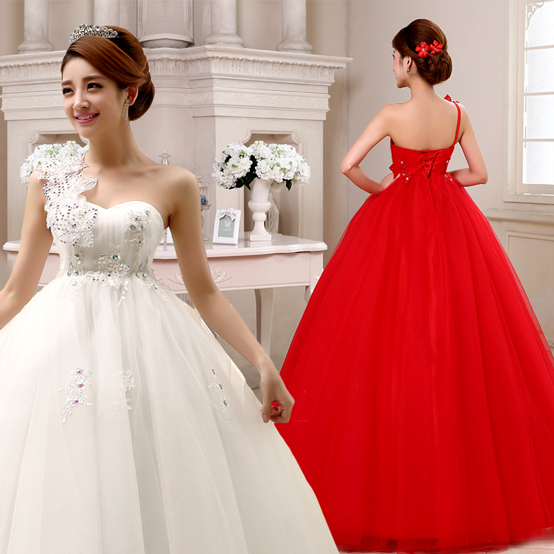 Maternity wedding dresses pregnant woman marry dress one shoulder ...