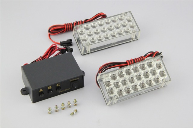 1 Set Car Auto Motorcycle 2x22 LED Strobe Light Flash Warning Flash Strobe Emergency Police Lamp 44 LED White Blue Amber Red