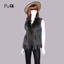 Free shipping womens genuine natural real rabbit vests fur with raccoon fur collar weinter waistcoat jackets
