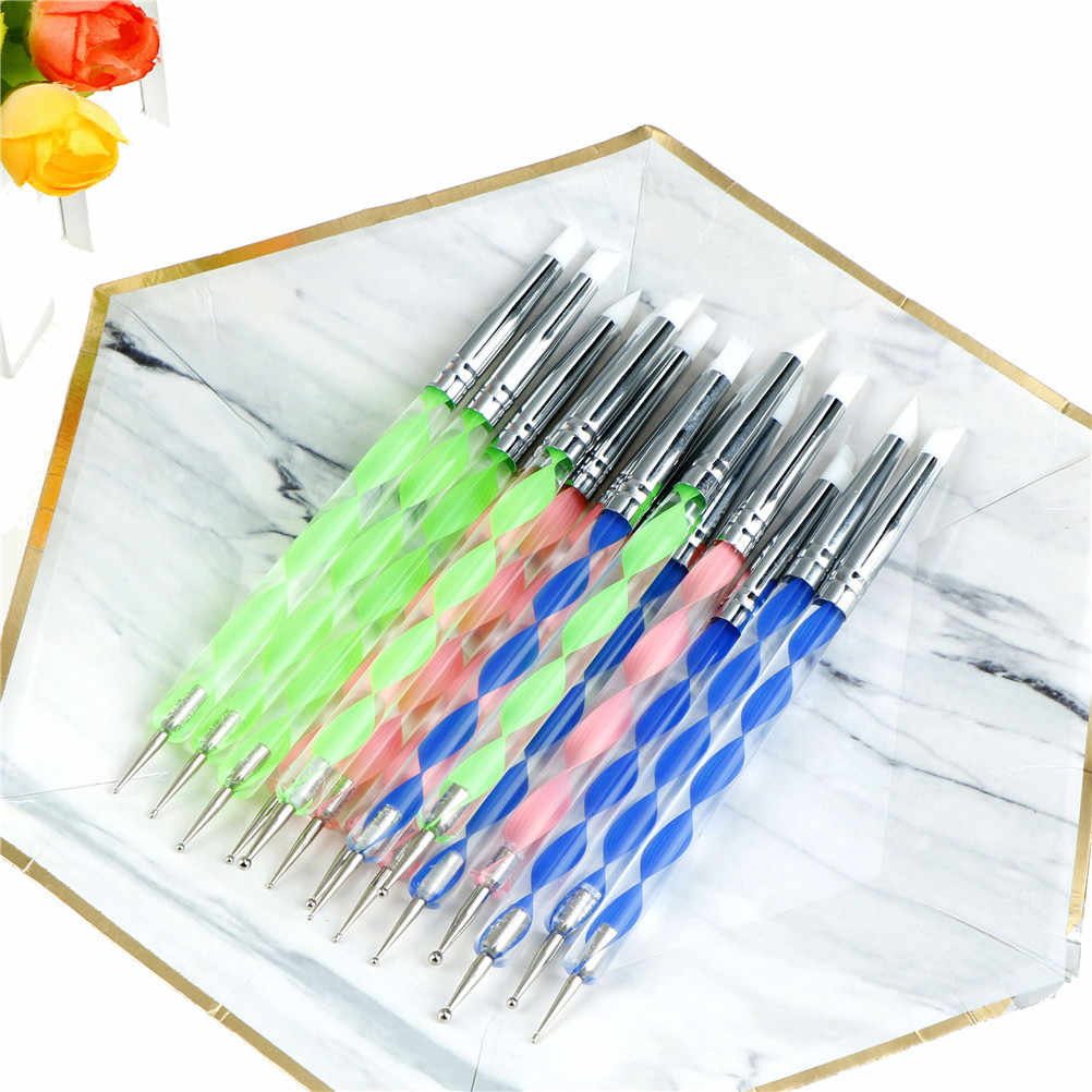 5pcs 3 styles 2 Way Pottery Clay Ball Styluses Tools Polymer Clay Sculpture Tool Nail Art Tools Silicone Shapers Dotting Tool