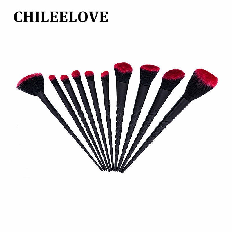 CHILEELOVE 10 Pcs Set Blusher Concealer Eye Shadow Foundation Powder Pro Makeup Brush Tool Kits Cosmetics