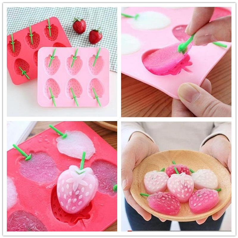 100pcs Wholesale Creative Silicone Ice Trays Strawberry Shape / Chocolate Molds / Ice Cube /  Mold Ice Cream Tools ZA0575